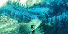 Surfer On The Crest Of A Wave. Layers Of Turquoise And Blue Paints. Artistic Work