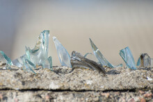 Shards Of Glass On Top Of The Wall. Home Protection From Burglars.