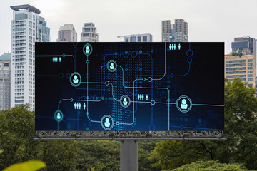 Glowing Social media icons on road billboard over panoramic city view of Bangkok, Southeast Asia. The concept of networking and establishing new connections between people and businesses.
