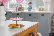 Closeup View Of Flowers And Sweets On A Old Antique Wooden Drawer