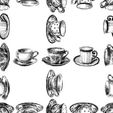 Seamless Pattern Of Sketches Various Porcelain Tea Cups