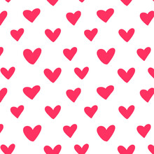 Repeated Outlines Of Hearts Drawn By Hand. Romantic Seamless Pattern. Endless Cute Print Vector Illustration.