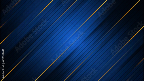 Fotografie, Tablou Abstract blue background with gold stripes