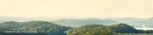 The hills of evergreen pine forest. Saimaa lake, Finland. Breathtaking panoramic aerial view, picturesque scenery. Golden sunlight. Nature, environmental conservation, ecotourism, travel destinations