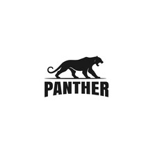 Panther Logo Template - Big Cat Silhouette With Srtong Bold Typography Design Vector