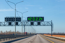 Highway With A Sign And An Inscription On A Digital Board, The Offensive Of 2022