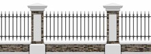 Classic Iron Fence With Brick Pillars. Ancient Wrought Iron Fence. Medieval Fence. Urban Design. Decor. Vintage. Luxury Modern Architecture. Palace. City. Street. Park. Blacksmithing. Isolated.