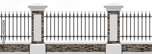 Billede på lærred Classic Iron Fence With Brick Pillars
