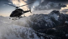 Black Helicopter Flying Over The Canadian Rocky Mountains. Dramatic Sunrise. Aerial Landscape From British Columbia, Canada Near Vancouver. Extreme Adventure Composite. Dark Render.