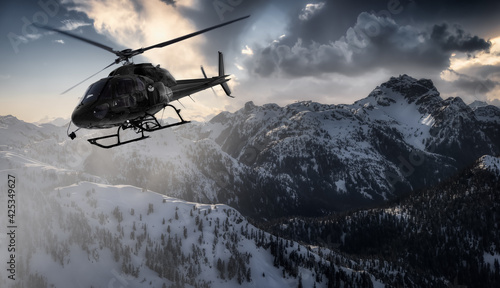 Canvas Black Helicopter flying over the Canadian Rocky Mountains
