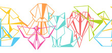 Seamless Pattern With Origami Toys. Folded Paper Objects.