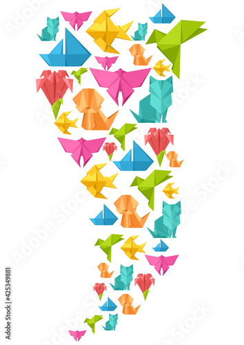Fototapeta premium Background with origami toys. Folded paper objects.