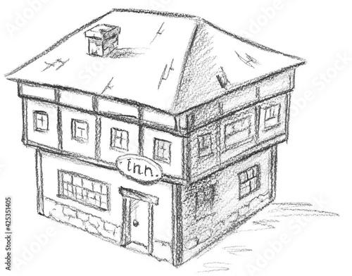 Fototapeta Hand pencil drawn inn. Fantasy map creator.