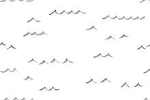 Hand Pencil Drawn Seamless Sea Pattern. Fantasy Map Creator.