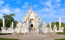 Panorama Of Wat Rong Khun, Or White Temple In Chiang Rai Province, Northern Thailand