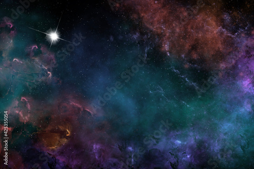 Fotografering One off digitally created fantasy outer space galaxy scene with nebulas and star