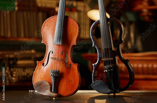Fotografie, Obraz Violin in retro style and modern electric viola