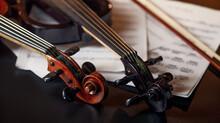 Retro Violin And Electric Viola, Closeup View