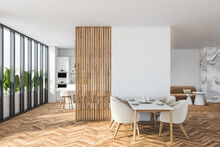 Bright Modern Dining Room Interior With Panoramic Window And Partition