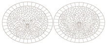 Set Of Contour Illustrations In Stained Glass Style With Butterflies In Frames, Dark Contours On A White Background, Oval Illustrations