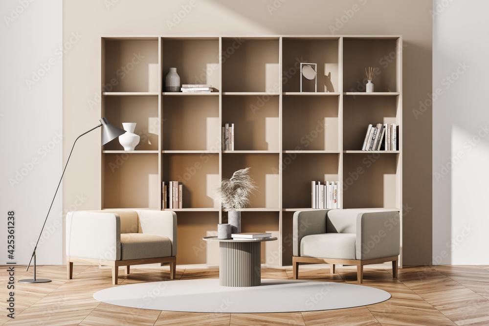 Fototapeta Light living room interior with armchair, bookshelf and parquet floor