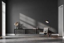 Grey Living Room Interior With Armchair, Drawer And Lamp, Mockup