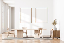 Bright Cozy Dining Room Interior With Two Empty White Posters