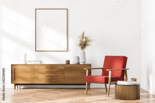 Bright contemporary waiting room interior with white empty poster