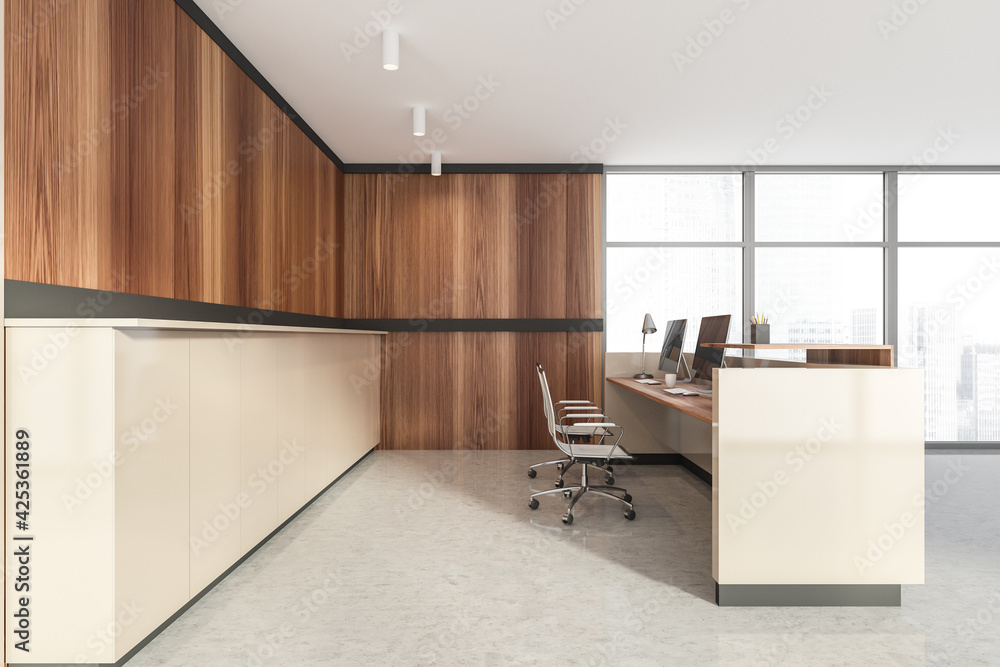 Fototapeta White and wooden reception room interior, desk with computers on marble floor