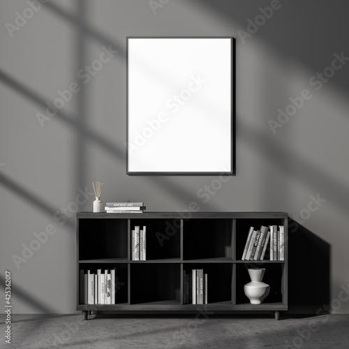 Fototapeta Dark cozy living room interior with empty white poster obraz