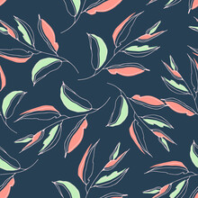 Seamless Abstract Pattern With Veined Leaves And Entwined Branches