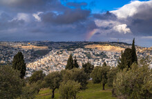 Rainbow Over Mount Of Olives, With A View Of The Old City, With Dome Of The Rock On Temple Mount, Mount Scopus, The Churches Of Ascension And The Arab Villages In The Kidron Valley
