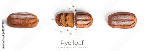 Obraz na plátně Rye loaf isolated on a white background.