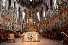 Interior Of Notre-Dame Cathedral Basilica Is A Roman Catholic Minor Basilica In Ottawa, Ontario, Canada