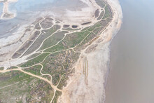 Drying Lake As A Result Of Climatic Changes - Kuyalnitsky Estuary. Sandy Bottom Of A Dried-up Lake. View From The Helicopter.