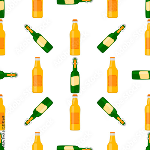 Canvas Print Illustration on theme seamless beer glass bottles with lid for brewery