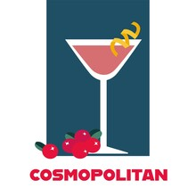 Glass Of Cosmopolitan Cocktail With Cranberries Retro Vector Illustration