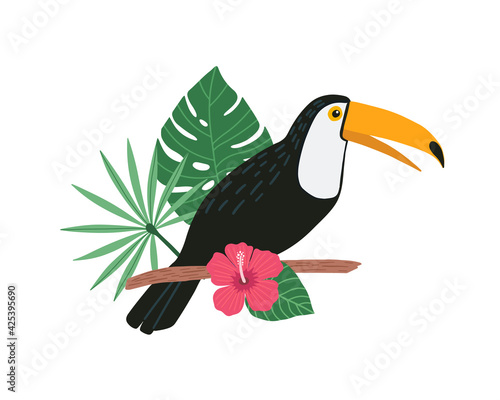 Fototapeta premium Cute toucan bird sitting on a tropical branch with exotic leaves and flowers of hibiscus and plumeria. Bright colorful vector toucan illustration in cartoon style