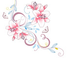 Abstract  hand drawn floral pattern with lily flowers and butterfly. Vector illustration. Element for design.