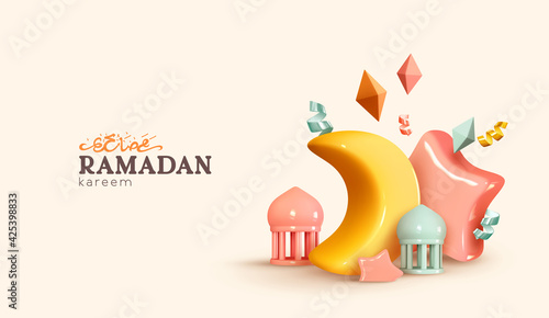Obraz Ramadan Kareem holiday background. Celebrate Ramadan Holy month in Islam. Realistic design with 3d object. Festive banner, poster, flyer, stylish brochure, greeting card, cover. Vector illustration - fototapety do salonu