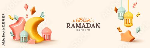 Obraz Ramadan Kareem horizontal banner, template header for website. Realistic 3d design elements. Traditional religious symbol crescent, hanging lanterns, volume stars, gold confetti. Vector illustration - fototapety do salonu