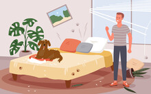 People Scold Dog Behavior Problem, Angry Man Scolding Doggy For Messy Chaos In Bedroom