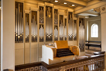 The Pipe Organ Of The Reykjavik Cathedral. Iceland