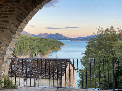 views of the Mediano reservoir, in the Aragonese Pyrenees, located in Huesca, Spain.