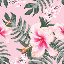 Seamless Pattern Floral With Hibiscus And Orchid Flowers On Isolated Pink Pastel Background.Vector Illustration Hand Drawn.For Fabric Fashion Print Design Or Product Packaging.