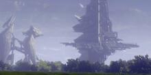 3D Illustration. Alien Planet. Futuristic Buildings Remnants. Space Opera Imaginary Universe.