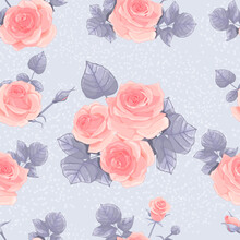 Seamless Pattern With Delicate Pink Roses And Leaves On A Gray Background. Vector Illustration