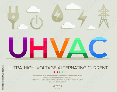 Fotografia UHVDC mean (ultra high voltage direct current) Energy acronyms ,letters and icons ,Vector illustration