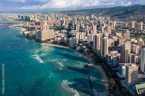 Sunrise above Waikiki Beach in Honolulu, Oahu Island, Hawaii. Famous surfers place on the island