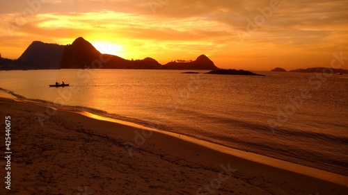 Canvas Print Sunset and Rio de janeiro view from Charitas beach by Christian Gintner